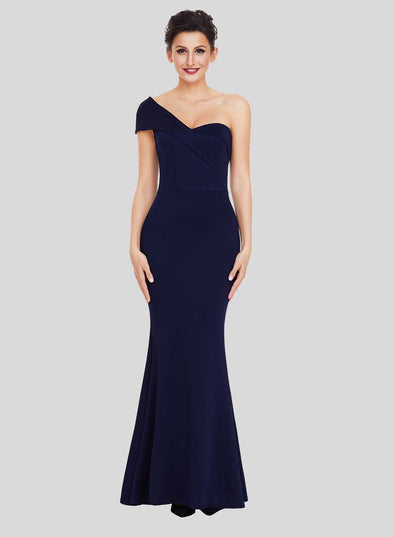 One Shoulder Ponti Gown