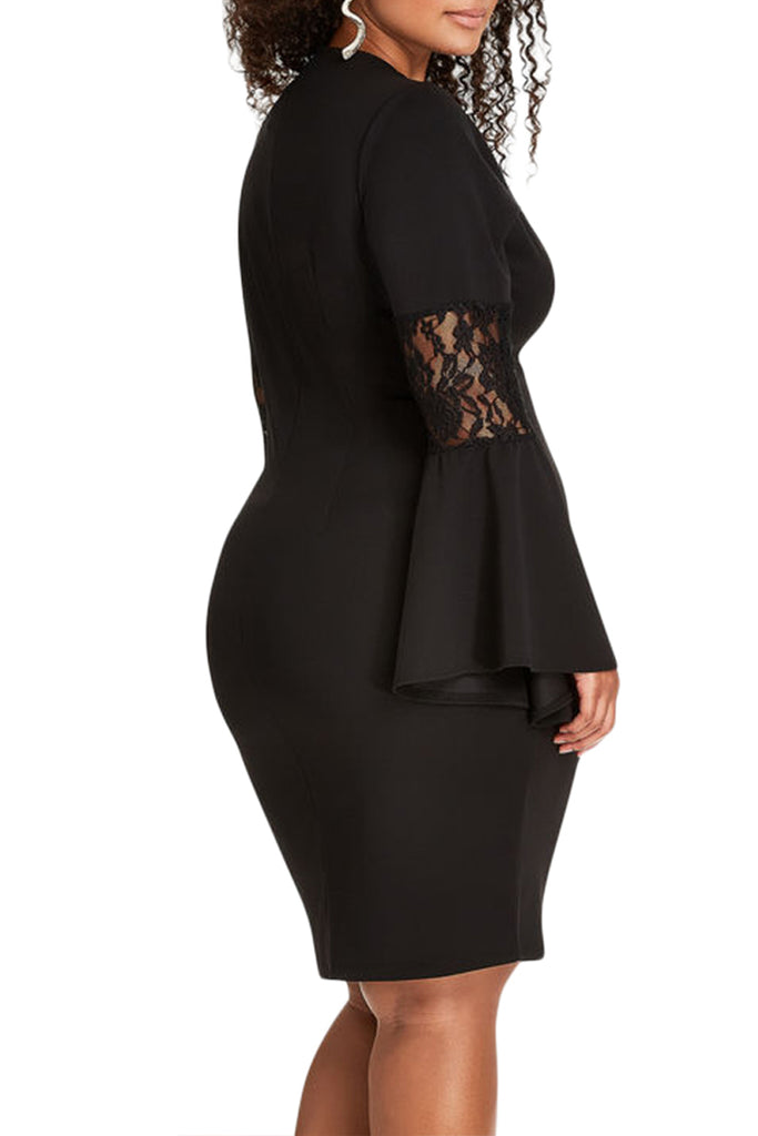 2b888b3eabada Lace Bell Sleeve Sheath Plus Size Dress. Hover to zoom
