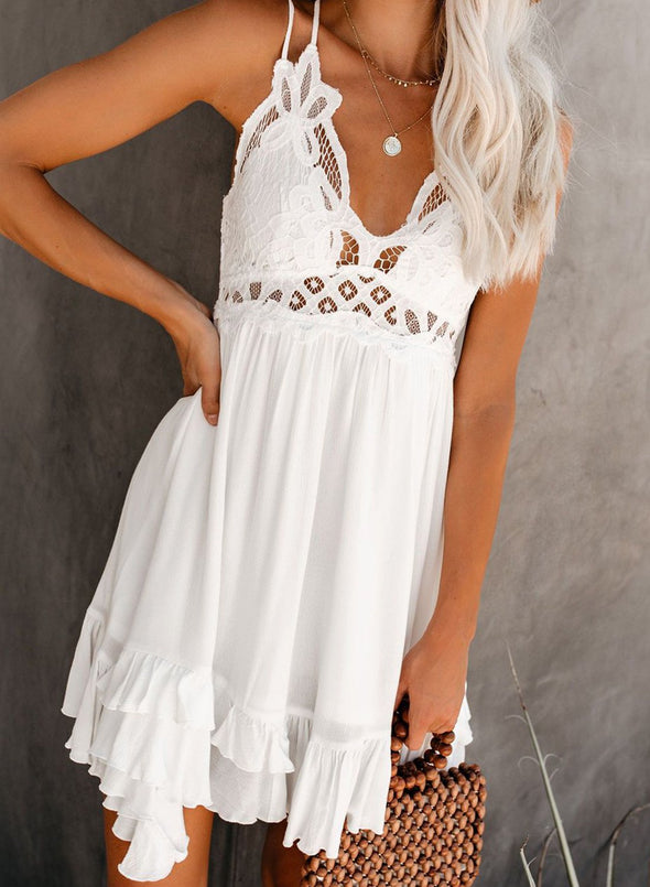 Maeve Crochet Lace Ruffle Dress