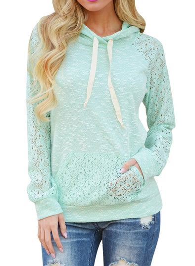 Lace Hollow Out Kangaroo Pocket Hoodie