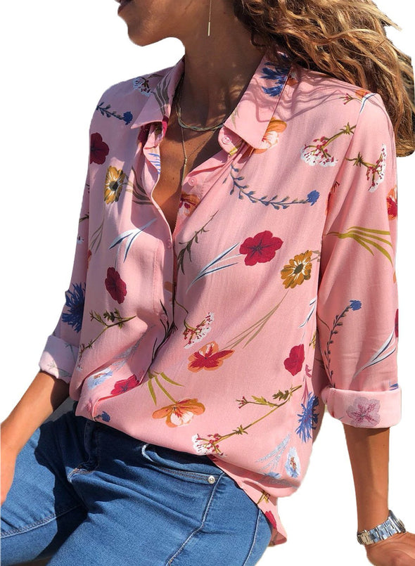Floral Print Button Front Shirt