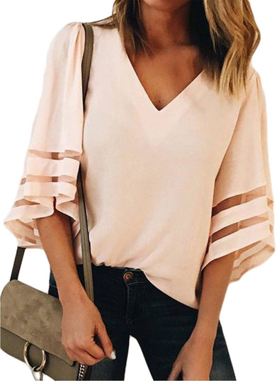 Flare Sleeve V Neck Blouse