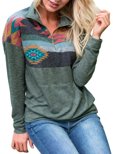 Retro Print Front Pocket Casual Sweatshirt