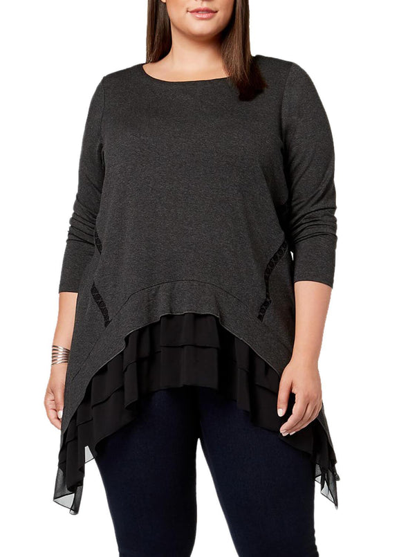 Sheer Ruffled Splice Plus Size Top