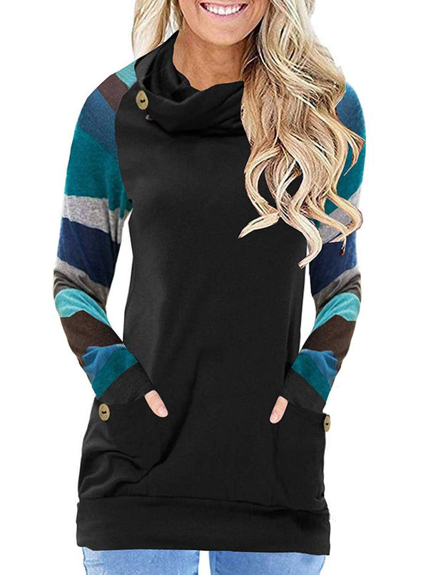 Multicolor Striped Raglan Sleeve Gray Cowl Neck Sweatshirt