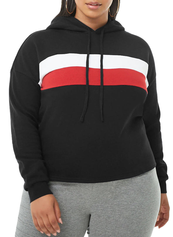 Striped Detail Plus Size Chunky Hoodie