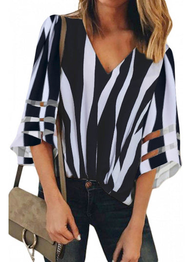 Flare Sleeve V Neck Loose Blouse (LC251924-2-1)