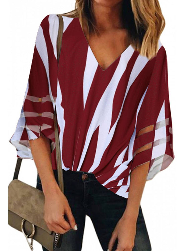 Flare Sleeve V Neck Loose Blouse (LC251924-3-1)