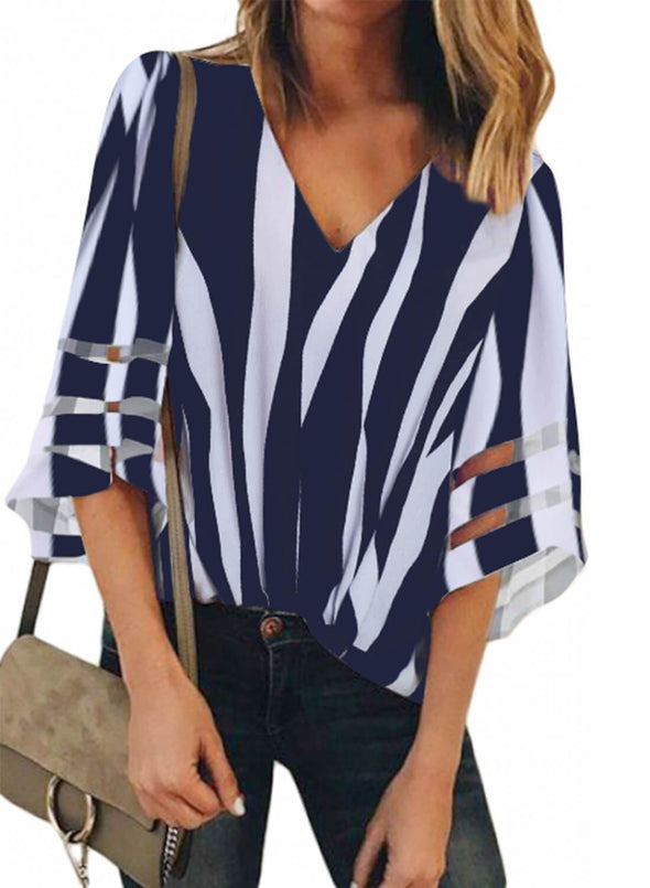 Flare Sleeve V Neck Loose Blouse (LC251924-5-1)