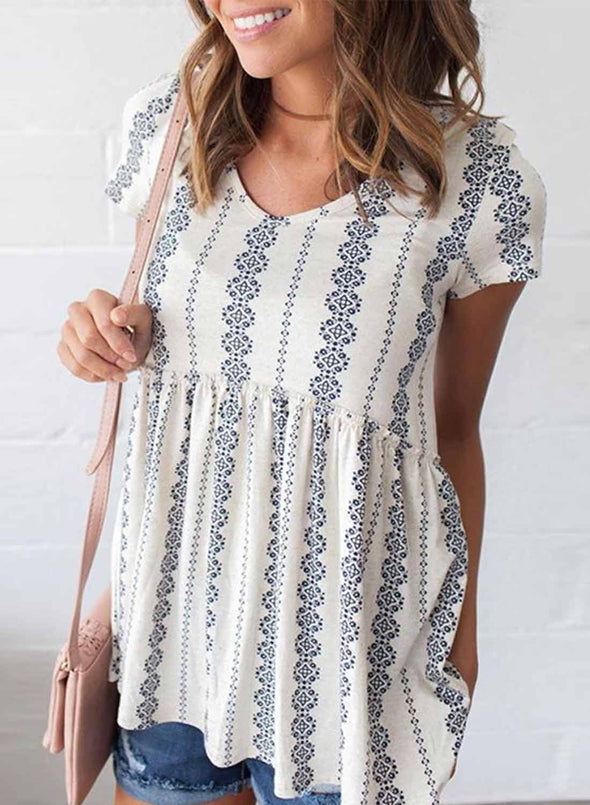Short Sleeve V Neck Floral Print Peplum Tunic Top