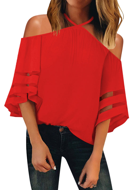 Spaghetti Halter Off The Shoulder Blouse Tops