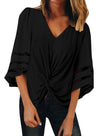 V Neck Flared Sleeve Twisted Detail Loose Blouse