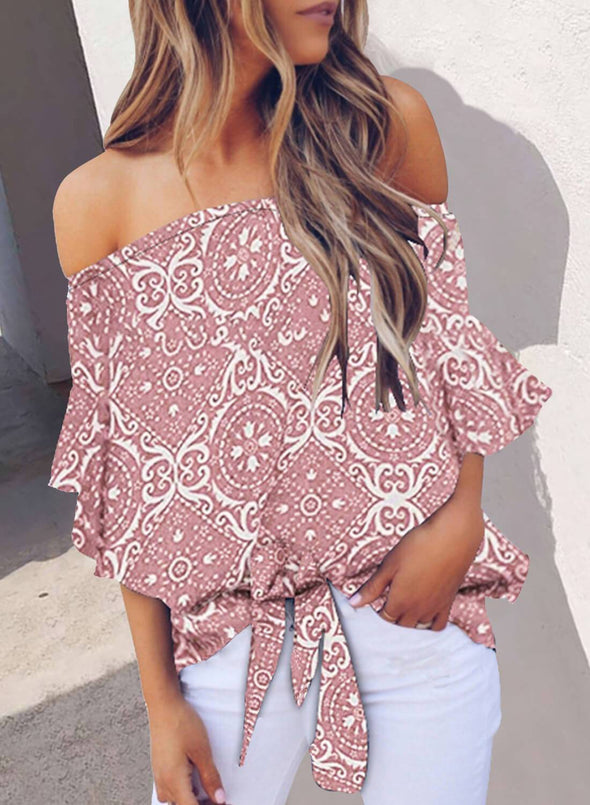 Floral Off Shoulder Top(LC252130-10-1)