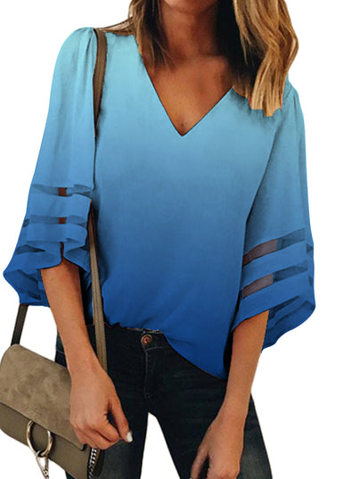 Gradient Flare Sleeve V-Neck Loose Blouses