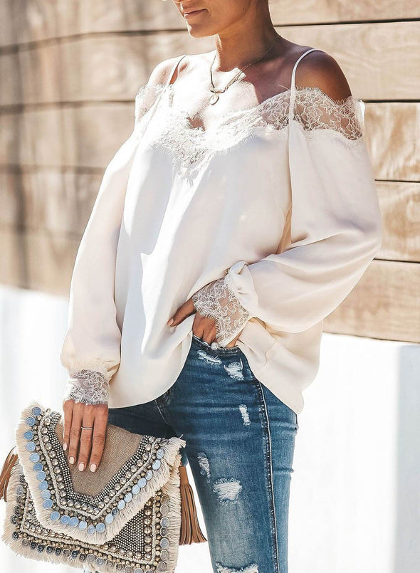 Trixie Lace Cold Shoulder Blouse(LC252164-1-3)