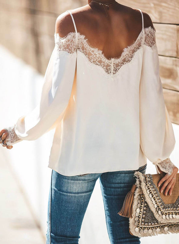 Trixie Lace Cold Shoulder Blouse(LC252164-1-2)