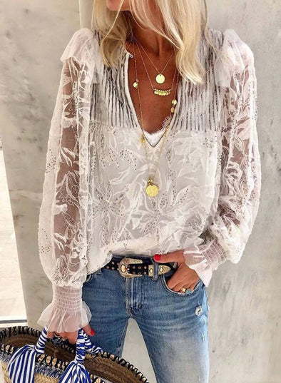 V Neck Embroidery Lace Blouse