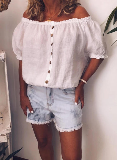 Off Shoulder Cotton Button Shirt