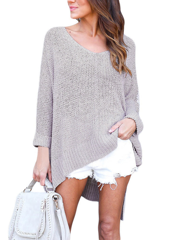 Oversized Knit High-low Slit Side Sweater