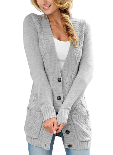 Front Pocket and Buttons Closure Cardigan