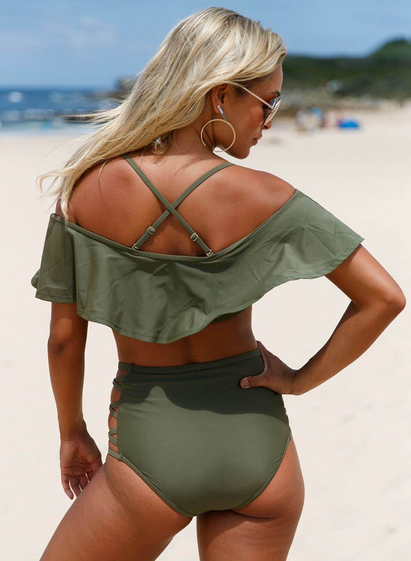 Off Shoulder Halter Ruched High-Waisted Bikini Set (LC410209-9-2)