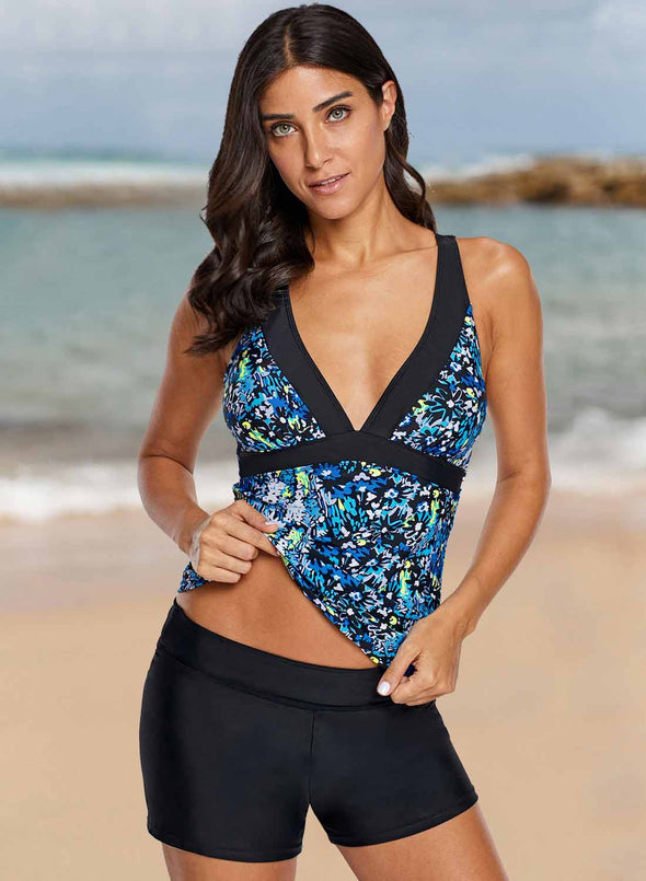 Sexy V Neck Floral Tankini Top