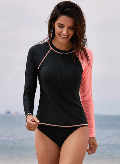 Raglan Sleeve Zip Front Rashguard Swim Top