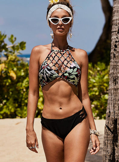 Criss Cross Hollow Print Sling Two-piece Swimsuit
