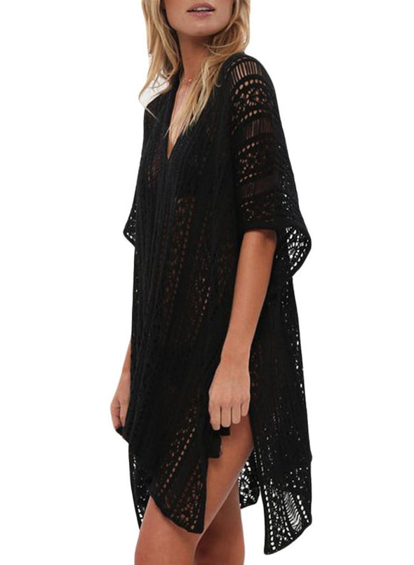 Solid  Swimsuit Cover Up Dress