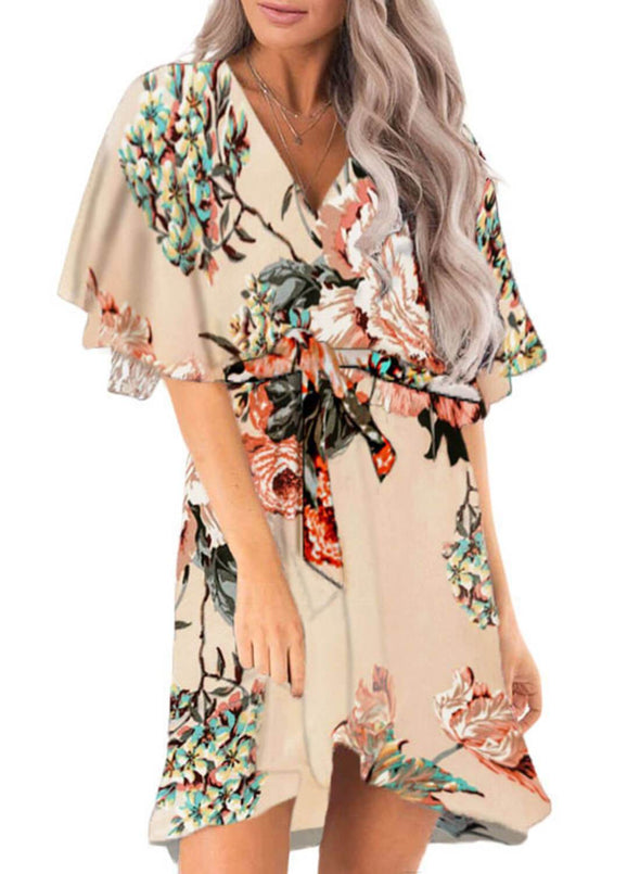 Floral Print V Neck Wrap Dress with Ruffle Sleeves(LC611134-18-1)