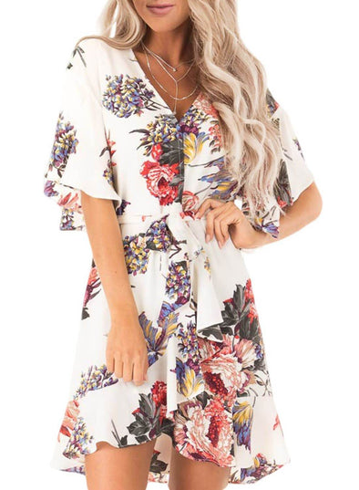 Floral Print V Neck Wrap Dress with Ruffle Sleeves(LC611134-1-1)