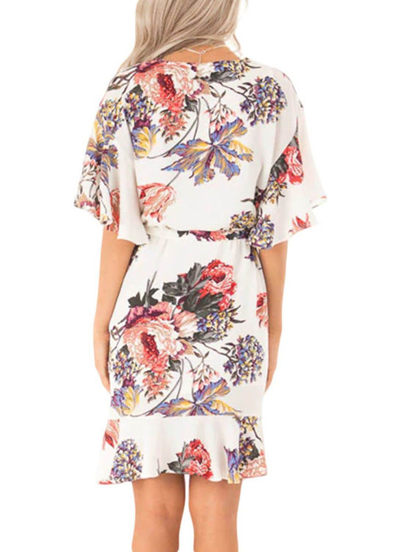 Floral Print V Neck Wrap Dress with Ruffle Sleeves(LC611134-1-2)