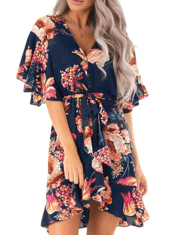 Floral Print V Neck Wrap Dress with Ruffle Sleeves(LC611134-5-1)