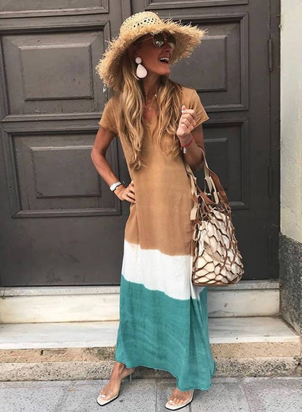 Tie-dye V Neck Short Sleeve Maxi Dress