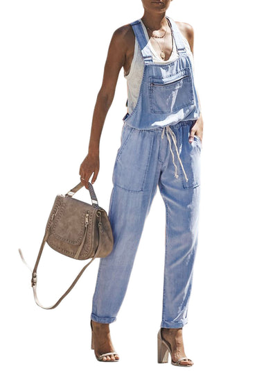 Denim Easygoing Drawstring Overalls