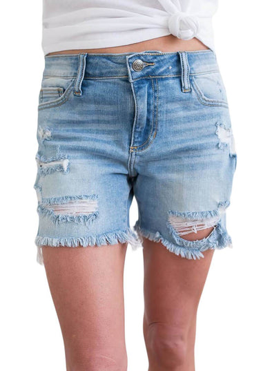 Ripped Hole Distressed Denim Shorts (LC786079-4-1)