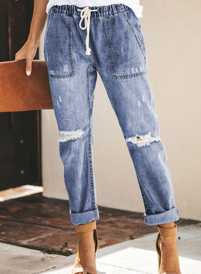 Gather Round Distressed Pocketed Denim Jogger