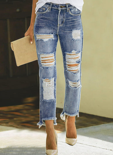 Distressed Ripped Boyfriend Cropped Denim Jeans