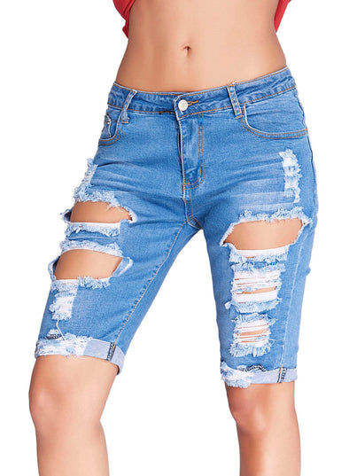 Denim Destroyed Shorts