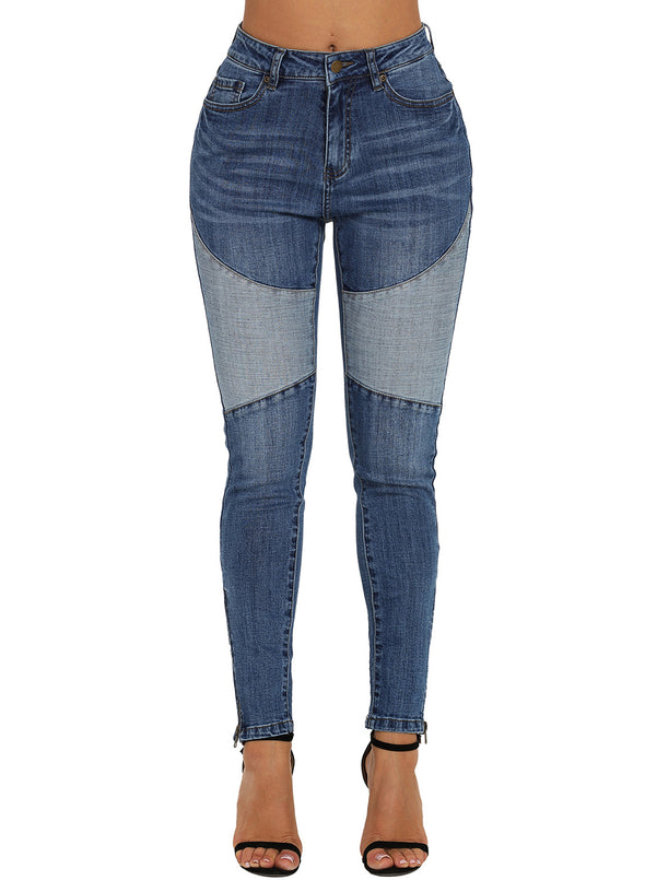 Blue Retro Patch Front Ankle Zipped Jeans