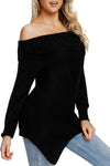 Asymmetric Hemline Off Shoulder Sweater