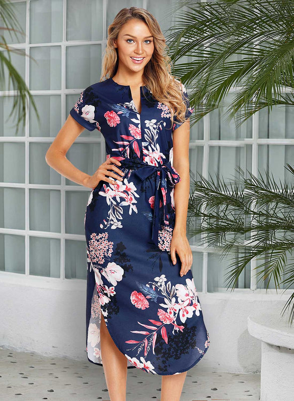 Floral V Neck Midi Dress with Wasit Belt