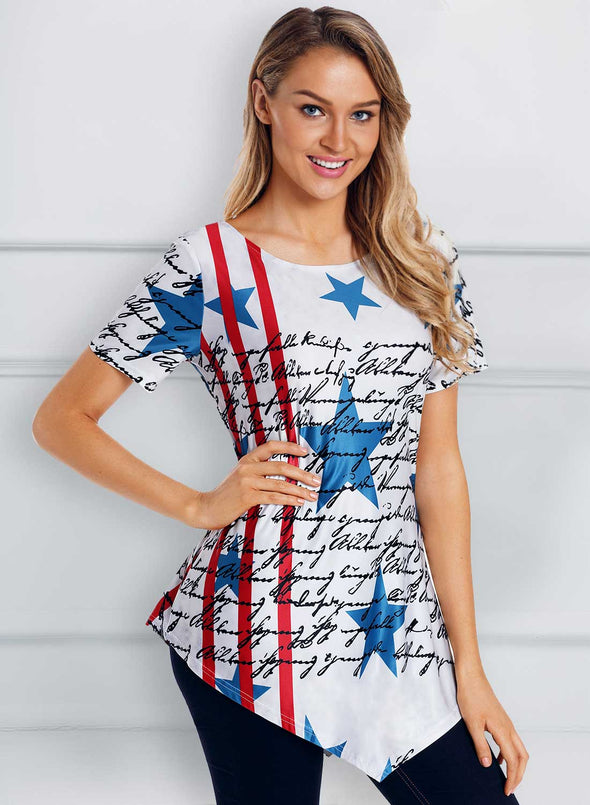 The USA Flag Print Asymmetric Hem T-shirts