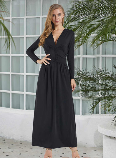 Vintage Inspired V-neck Long Sleeve Maxi Dress