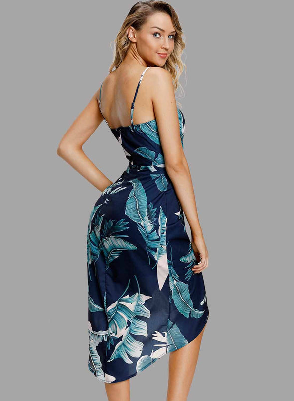 Deep V Neck Floral Print Boho Dress