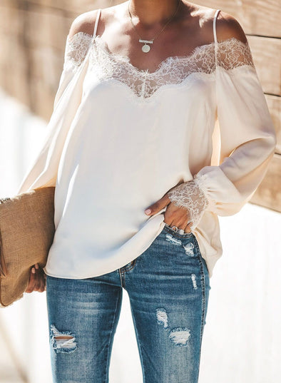 Trixie Lace Cold Shoulder Blouse(LC252164-1-1)