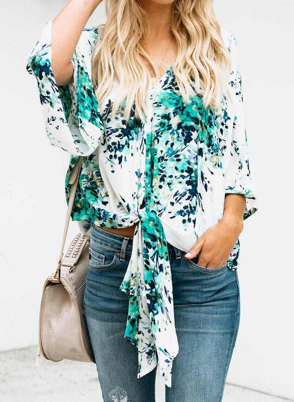 V Neck Floral Tie Front Flare Blouse Top