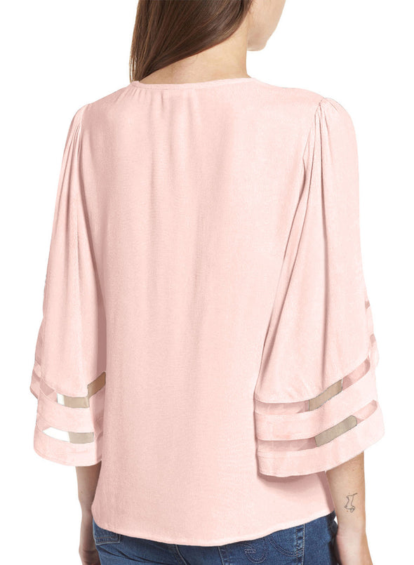 Criss Cross Neck 3/4 Bell Sleeve Blouse