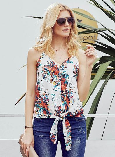 Floral Single Breasted Front Knot Cami Tank (LC251903-1-1)