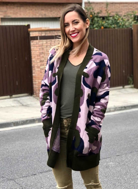 Camo Pockets Open Front Cardigan